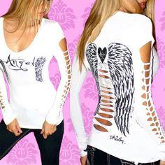 Demi Loon Angel Wings Tattoo goth Destroyed Diy slashed Cutout Shirt Tee Top S/M/2/X/L/3/X. $32.50, via Etsy.