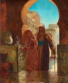 The Palace Entrance by Rudolf Ernst Rudolf Ernst (14 Feb 1854-1932), Austro-French painter, printmaker and ceramics painter best known for his orientalist motifs. He studied in Europe and made trips to Spain, Morocco, Egypt and Istanbul. From 1885, he devoted himself exclusively to paintings with orientialist motifs; especially Islamic scenes. He also painted harem scenes and scenes of everyday life in North Africa, based on photographs and prints and his own memories. --Wikipedia