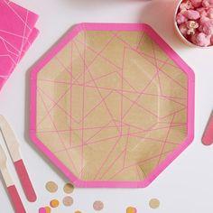 8 pratos geométricos néon