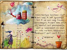 Poëziealbums bekeken in SHC Pretty Notes, Wreck This Journal, Old Paper, Children's Book Illustration, Art Sketchbook, Moleskine, Childrens Books, Book Art, Poems
