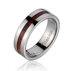 Prosperity Genuine Hawaiian Koa Wood Inlaid Titanium Ring   Wedding Bands Forever