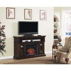 Wallace Infrared Electric Fireplace Entertainment Center in Empire