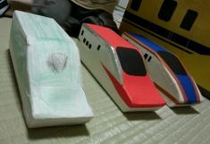 牛乳パック 新幹線 工作 作り方 簡単 バザー 型紙 おもちゃ はやぶさ こまち かがやき