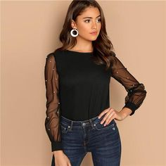 Sheinside Black Women Blouse Pearl Beaded Mesh Sleeve Top Ladies Long Sleeve Shirts Elegant Womens Clothing Tops And Blouses Plain Tops, How To Roll Sleeves, Mode Style, Black Blouse, Types Of Sleeves, Blouses For Women, Women's Blouses, Ladies Blouses, Ideias Fashion