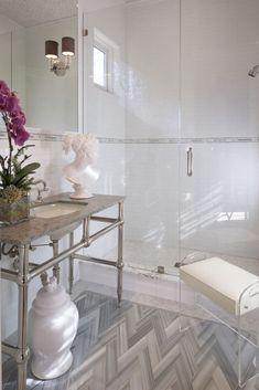 pros cons frameless shower doors modern bathroom walk in shower console sink statuette Beautiful Bathrooms, Modern Bathroom, Glamorous Bathroom, Simple Bathroom, White Bathroom, Master Bathroom, Chevron Floor, Gray Chevron, Home Luxury