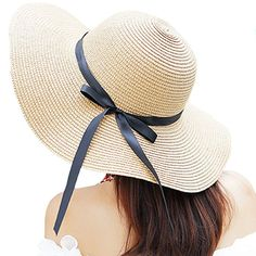Itopfox Women s Big Brim Sun Hat Floppy Foldable Bowknot Straw Hat Summer  Beach Hat Beige at Amazon Women s Clothing store  735b21d82c2d