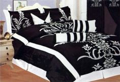 Amazon.com: 7 Pcs Flocking Floral Pattern Bed In A Bag Comforter Set Queen Black/White/Grey: Home & Kitchen