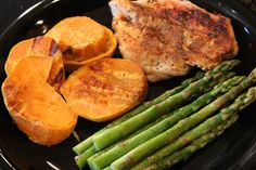 Clean eating meal:  Grilled chicken, sweet potatoes, & asparagus - http://youtu.be/vD0JegKFA3c