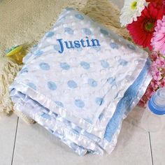 Personalized Embroidered Blue Baby Blanket