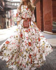 Maxi Robes, Chiffon Maxi Dress, Maxi Dress With Sleeves, The Dress, Half Sleeves, Summer Dresses With Sleeves, Draped Dress, Mode Boho, Trend Fashion