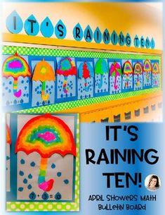 It's Raining TEN! by Kindergarten Korner by Casey Kindergarten Bulletin Boards, Numbers Kindergarten, Kindergarten Math Activities, Preschool Math, Math Classroom, Fun Math, Teaching Math, Fun Activities, Math Crafts
