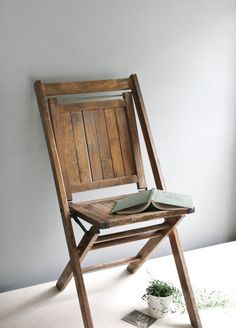 classic wood folding chair.