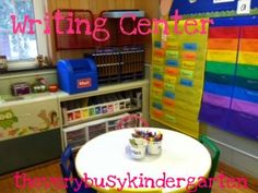 Writing Center - like the mail box, post office, and list of other kids in classroom