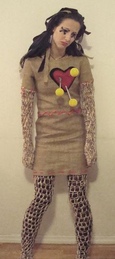Incorporating knit into a voodoo doll costume = interesting Voodoo Doll Halloween Costume, Voodoo Dolls, Halloween Party, Halloween 2017, Haloween Makeup, Costume Makeup, Mardi Gras Costumes, Diy Costumes, Costume Ideas