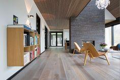 wooden ceiling and dark bricks