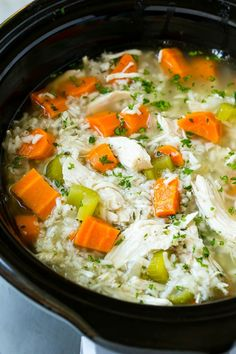 This slow cooker chicken and rice soup is an easy and comforting meal that's perfect for cold nights! My slow ...