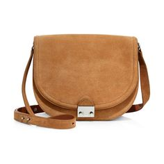 Large suede saddle bag by Loeffler Randall. Classic saddle style in brushed suede with signature lockAdjustable crossbody strapPush-lock flap closureSilvertone h...
