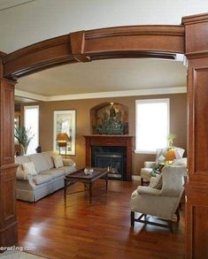 Living Room Photos / Pictures, Decorating, Interior Design & Decor Ideas for Living Rooms in the Home / House Living Room Partition, Room Partition Designs, Living Room Wood Floor, Interior Designer Cost, Home Interior Design, Living Room Photos, Living Room Decor, Living Rooms, Interior Columns