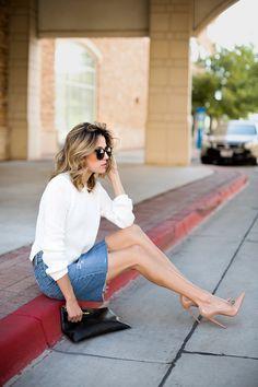 white crop sweater H&M, anthropologie denim skirt paired with christian louboutin heels. #jessakaephotography #fashion #streetfashion #streetstyle #anthro #anthropologie #fashionblogger