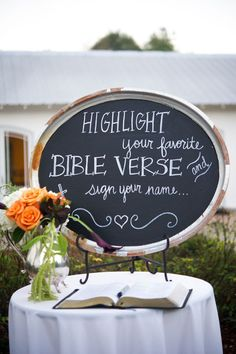 Katie + Brooks had several guest books including one where they had guests sign their favorite Bible verse. Photo by Alisha Crossley Photography