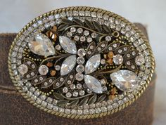 Gold and Rhinestone Ladies Belt Buckle Western by CreativityAtPlay, $62.00