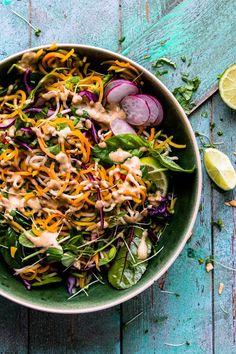 Rainbow Veggie Pad Thai with Cashew Satay Sauce. Ready in 15 minutes. | www.saltedmint.com