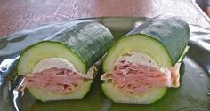 This looks pretty yummy - Cucumber Sandwich redefined! Half a cucumber, scoop out the seeds and make a sandwich! Paleo Recipes, Low Carb Recipes, Cooking Recipes, Advocare Recipes, Delicious Recipes, Candida Recipes, Cleanse Recipes, Recipes Dinner, Appetizer Recipes