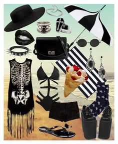 """""""Beach Goth"""" by pixymae ❤ liked on Polyvore featuring Iron Fist, L'Agence, Kassatex, VIVETTA, Charles Albert, Forever 21, Talbots, 1928, Summer and beach"""