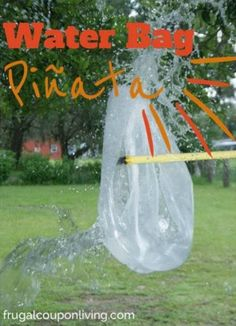 Need some summer time inspiration? Try a game of Water Bag Pinata - this and more Kids Summer Bucket List Items on Frugal Coupon Living.