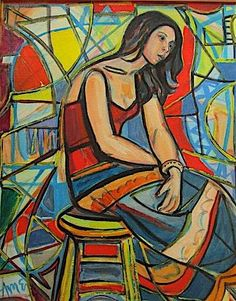 young woman model oil painting by irving amen