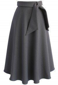 Love in Vogue Midi Skirt in Grey