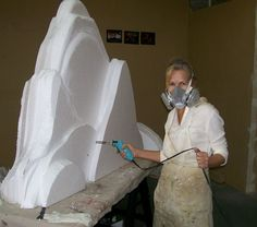 """Carving EPS Foam Mountains with Hot Wire Foam Factory's 6"""" Industrial Hot Knife (4"""" blade attached)."""