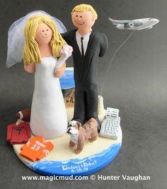 Honeymoon Beach Vacation Wedding Cake Topper by www.magicmud.com  $250  1 800 231 9814  magicmud@magicmud.com  http://blog.magicmud.com  https://twitter.com/caketoppers         https://www.facebook.com/PersonalizedWeddingCakeToppers #airplane#plane#pilot##honeymoon #wedding #cake #toppers  #custom #personalized #Groom #bride #anniversary #birthday#weddingcaketoppers#cake toppers#figurine#gift#wedding cake toppers