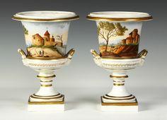 Pair of Old Paris Porcelain Urns | Cottone Auctions