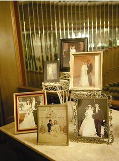 Family wedding photos displayed
