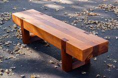 wood bench rustic modern outdoor patio garden cedar - he has lots of cool designs. Possibly look into custom bench. Cedar Furniture, Rustic Outdoor Furniture, Outdoor Garden Bench, Rustic Bench, Outdoor Decor, Antique Furniture, Rustic Outdoor Benches, Furniture Ideas, Wood Benches