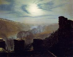 Full Moon behind Cirrus Cloud from the Rounday Park Castle Battlements by John Atkinson Grimshaw, 1872