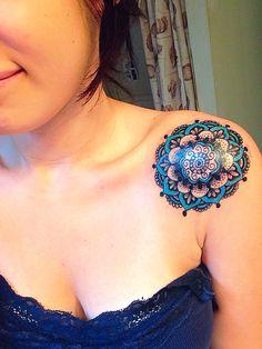 First tattoo. Mandala shoulder tattoo.