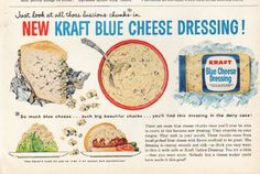 "1961 KRAFT vintage magazine advertisement ""Kraft Blue Cheese Dressing"" ~ Just look at all those luscious chunks in New Kraft Blue Cheese Dressing! There are more blue cheese chunks than you'll ever be able to count in this luscious new dressing. ~ Size: The dimensions of the half-page advertisement are approximately 9.75 inches x 6.25 inches (24.75 cm x 16 cm). Condition: This original vintage half-page advertisement is in Excellent Condition unless otherwise noted."