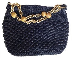 60s Woven Navy Blue Handbag Gold Chain Handle by MayDayRiots