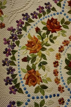 Koala's place - CrossStitch&Patchwork & Embroidery: Tokyo International Great Quilt Festival - Part 3 Quilt Patterns Free, Applique Patterns, Applique Quilts, Embroidery Applique, Block Patterns, Quilt Festival, Flower Quilts, Patch Aplique, Free Motion Quilting