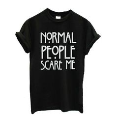 Women's Tee,Neartime Normal People Scare Me Short Sleeve Casual T... ($4.59) ❤ liked on Polyvore featuring tops, t-shirts, short sleeve tee, short sleeve t shirt and short sleeve tops