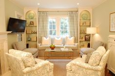 Reading room/library: window seat with built in bookshelves