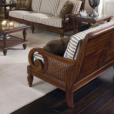 Grand View Loveseat features wicker, carved wood and shutter accents. Living Furniture, Home Decor Furniture, Furniture Design, Wooden Sofa Set Designs, British Colonial Decor, Chair And Ottoman Set, Living Room Sofa Design, Curved Sofa, Wood Sofa