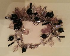 Vintage silver tone bracelet with black and clear beads #Beaded