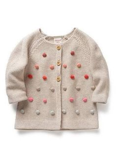 Baby pom pom cardigan - from seed Australia Little Fashion, Baby Girl Fashion, Fashion Kids, Diy Tricot Crochet, Crochet Baby, Baby Boy Outfits, Kids Outfits, Only Cardigan, Online Shopping Shoes