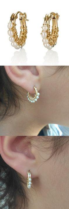 #Gipsy #Earrings, #Pearl #hoop earring, #Bridsmaid Earrings, #Small hoop earring, #Gold #delicate jewelry, Wire Wrapprd Earrings, #Gift For #Her #wife #birthday #gift  http://etsy.me/2yLf7mo #jewelry #earrings #gold #wedding #white #women #hoopearring #pearlhoop #pearl
