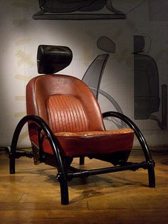 Ron Arad – Rover chair This chair started Arad's design career. I can't help but think of how old car seats are used on the porches of derelict homes! But it represents how he used the materials he had available to him at the time. Car Furniture, Automotive Furniture, Recycled Furniture, Furniture Design, Chair Design, Ron Arad, Deco Originale, Rocking Chair, Man Cave