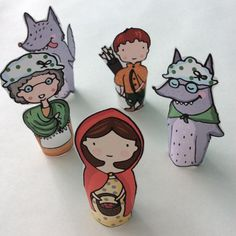Little Red Riding Hood Paper Finger Puppets By Curmilla, Printable PDF, Capuercita, Cappuccetto Rosso Puppet Crafts, Finger Puppets, Paper Toys, Red Riding Hood, Little Red, Art For Kids, Decoupage, Character Design, Etsy