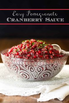This Easy Cranberry Pomegranate Sauce; with ginger, lemongrass and pomegranates, has a super fresh, vibrant flavor. It takes less than 15 minutes to make! #thanksgivingsides #cranvberrysauce #pomegranate Pasta Side Dishes, Side Dishes For Bbq, Potato Side Dishes, Thanksgiving Sides, Thanksgiving Recipes, Best Cranberry Sauce, Pomegranate Sauce, Beef Recipes, Healthy Recipes